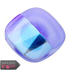 exklusive-knoepfe.de - Glasknopf quadratisch in Blau - eine Hälfte glänzend und andere matt