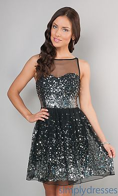 Short Tony Bowls Dress with Illusion Neckline at PromGirl.com ...
