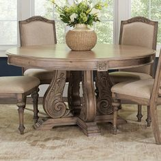 A Line Furniture La Bauhinia French Antique Carved Wood Design Round Dining Table - Beige Round Dining Room Sets, Dining Room Furniture Sets, Coaster Furniture, Dining Table In Kitchen, Dining Table Chairs, Round Dining Table, Dining Room Design, Fine Furniture, Furniture Outlet