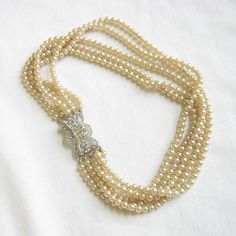 Vintage Antique Art Deco 5 Strand Glass Pearls by MyVintageJewels, $40.00