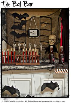 """Going batty this Halloween looking for a simple yet special party idea? We have a spooktacular solution for you – """"The Bat Bar""""! Bats have long been associated with Halloween and this year they are the hot ticket for party décor. Use these creatures of the night to create a cool spot for cocktails, beverages or a combination of both. Bats are spooky, but not too scary, and can work for an adult-only or kid-friendly…"""