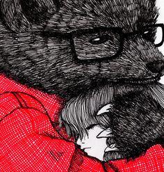 พี่หมีของเค้า ^^ (illustration by: Ani Castillo) Doodles Zentangles, Urso Bear, Drawing Sketches, Drawings, Drawing Art, Bear Illustration, Illustration Children, Photoshop, Bear Art