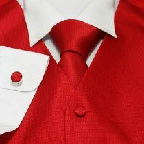Red Solid Mens Fashion Designer Vest with Necktie for Man, Cufflinks, Hanky, Bow Tie Set for Tuxedo Vs1005