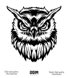 Vintage serious owl head concept in monochrome style isolated vector illustration , Owl Head, Wolf Illustration, Owl Logo, Team Mascots, Mascot Design, Monochrome Fashion, Graphic Design Studios, Animal Heads, Vector Art