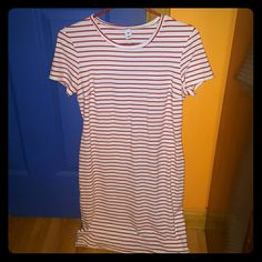 White and pink t shirt dress Never worn Old Navy Dresses Midi