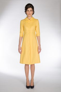 39dae2365c41 CLAIRE MISCHEVANI Sunflower Yellow 50's Style A-line Coat Claire, Coat  Dress, 50