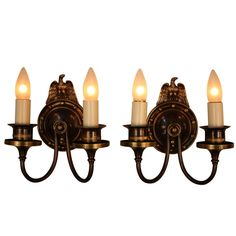 View this item and discover similar for sale at - A spectacular pair of Art Deco wall sconces manufactured by Lightolier, circa The sconces are of cast brass and have a light bronze patina. Bronze Wall Sconce, Led Wall Sconce, Candle Wall Sconces, Antique Light Fixtures, Antique Lighting, Bronze Patina, Bronze Finish, Contemporary Wall Sconces, Crystal Wall