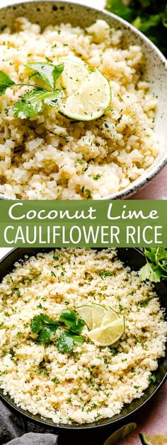 Coconut Lime Cauliflower Rice - Cauliflower rice cooked in coconut milk and loaded with fresh lime juice and lime zest This is the ideal healthy side dish to any meal cauliflowerrice sidedish healthyrecipes Healthy Sides, Healthy Side Dishes, Vegetable Side Dishes, Vegetable Recipes, How To Cook Cauliflower, Cauliflower Recipes, Coconut Cauliflower Rice, Riced Cauliflower, Rice Recipes For Dinner