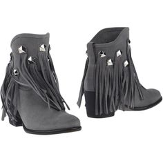 Cuplé Ankle Boots ($98) ❤ liked on Polyvore featuring shoes, boots, ankle booties, grey, fringe ankle boots, gray ankle boots, grey fringe booties, gray fringe booties and grey leather boots