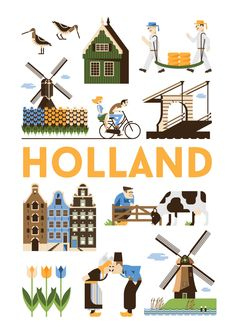 Holland in 2019 Floral Illustration, Travel Illustration, Dutch Netherlands, Amsterdam Netherlands, Pub Vintage, Thinking Day, Travel Maps, Vintage Travel Posters, Rotterdam