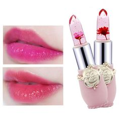 Minfei Temperature Change Color Flower Jelly Lipstick Waterproof Transparent Lips Balm Long Lasting Online - NewChic Mobile Long Lasting Makeup, Long Lasting Lipstick, Jelly Lipstick, Jelly Flower, Eyeliner, Eyeshadow, Lipstick Colors, Lip Makeup, Beauty Care