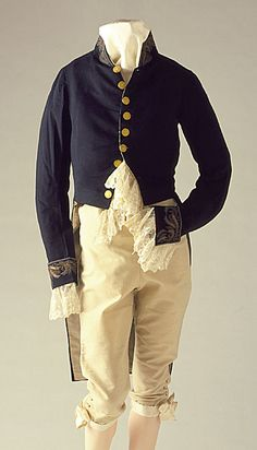A US military uniform from the 1830s consists of a tailcoat and breeches, ...