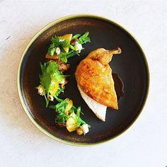 Chicken, Jowl Pancetta and Peach Fricassee, Green Beans, Mustard Greens Salad with Ricotta, Hazelnut, Fresh Peach and a Pancetta Fat & Peach Pit Vinaigrette with