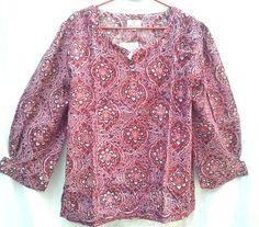 Beautiful Boho Chic Anokhi Raspberry Pink Lotus Floral Jali Hand block print Cotton Blouse Top Size XL