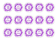 Printed edible toppers, perfect for decoration on birthday cakes, cocktails etc. for a 30th birthday party or celebration. Can be used as cupcake toppers, cake toppers, cocktail toppers, pie toppers and dessert and icecream decorations. Order today before 10am and qualify for next day delivery.  Buy now!