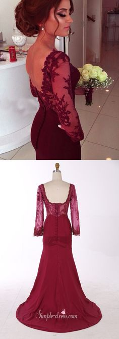 2016 mermaid long sleeves prom dress, maroon burgundy long sleeves prom dress