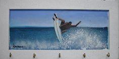 Porta Chaves Surf óleo sobre MDF