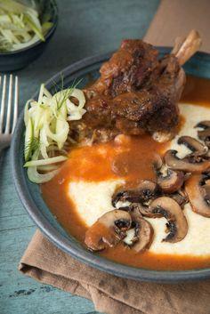 Braised Lamb with Creamy Polenta and Garlic Roasted Mushrooms {Via @WillCookForFriends}