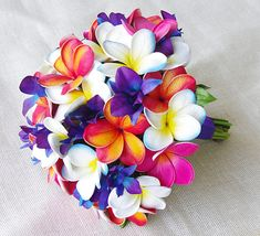 Wedding Silk Tropical Plumeria Bouquet - Fuchsia, Orange and Purple Natural Touch Orchids and Plumerias Silk Bridal Bouquet