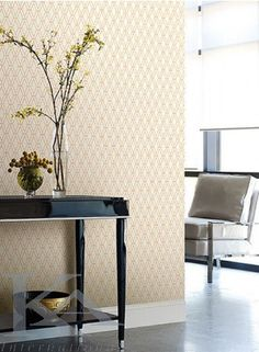 by Ashford House featured in Ashford Geometrics from York, Contemporary Dining Rooms Room Set Photos Contemporary Wallpaper, Textured Wallpaper, Ashford House, How To Hang Wallpaper, Black And White Wallpaper, Orange Design, Scale Design, Burke Decor, Room Set