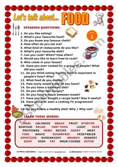 I prepared this worksheet to make students talk about the topics of FOOD and EAT… - Bildung English Speaking Skills, English Teaching Materials, English Teaching Resources, English Worksheets For Kids, Learn English Words, English Lessons, English Vocabulary, Let Them Talk, Let It Be