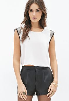 Boxy Beaded Crepe Top | FOREVER21 - 2000102677 22.80