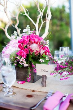 Pink Wood and Burlap Reception Decor Ideas   photography by http://acquaphoto.com/