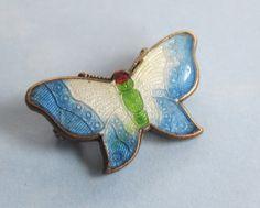 Antique Silver Guilloche Enamel Butterfly Brooch