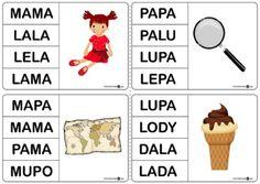 Wyrazy dwusylabowe – oznaczanie klamerkami – zestaw dla leworęcznych - Printoteka.pl Simple Math, Preschool, Therapy, Education, Logos, Speech Language Therapy, Cuba, Preschools, Kid Garden