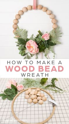 This DIY Wood Bead Wreath was simple to create, and it can be easily customized for any season or holiday by changing the greens and ribbon. #woodbeadwreath #springwreath Fun Easy Crafts, Diy Crafts For Adults, Easter Decor, Easter Ideas, Wreath Ideas, Diy Wreath, Diy Home Accessories, Diy Ideas, Craft Ideas