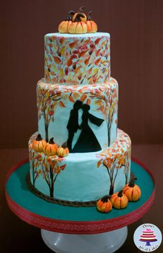 Fall Inspired Hand Painted wedding with Pumpkins - Cake by Veenas Art of Cakes