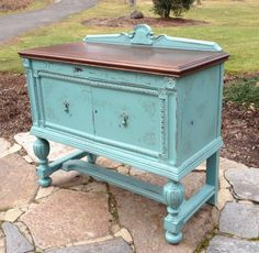 chalk paint English tea tables | Teal Chalk Painted Small Sideboard with French Stencils ~So French ...