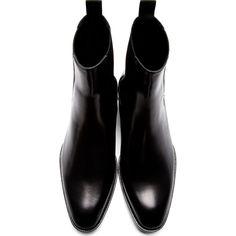 Saint Laurent Black Leather Wyatt Chelsea Boots