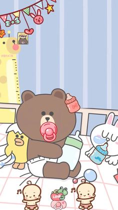 Check out this awesome collection of Line Friends wallpapers, with 42 Line Friends wallpaper pictures for your desktop, phone or tablet. Kaws Iphone Wallpaper, Wallpaper Iphone Disney, Mobile Wallpaper, Iphone Wallpapers, Lines Wallpaper, Bear Wallpaper, Kawaii Wallpaper, Screen Wallpaper, Bear Cartoon