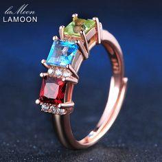 LAMOON 1.5ct 5mm Square Red Garnet Green Peridot Blue Topaz 925 sterling-silver-jewelry  Wedding Ring For Women LMRI010 #Affiliate