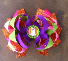 Halloween hair bow!! Check out forever chic bowtique on Facebook!!  $7
