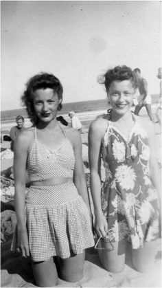 1940s swim wear vintage fashion style color photo print 40s ruffle skirt two piece bikini bathing suit floral cotton found photo beach casual sportswear
