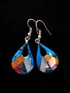 """""""Lucero"""" stone mosaic earrings 23 euro are not only handmade using semi precious stones but are also Fairtrade certified ensuring that the artisans who make them are central to everything that we do. Www.mexicanheart.com"""
