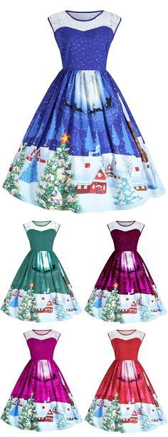 Free Shipping Worldwide!Cute but chic with this Sleeveless Christmas Party Dress, featuring semi sheer lace panel on the round neck,  High waistline with elasticized design. Fit and flare silhouette is suitable for your size. Classic Christmas Festival color for ground color with lovely snow night, santa claus with his deer, Christmas tree and warm cabin pattern printed. It's nice to be a gift for your girlfriend or daughter.