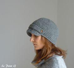 Casquette au crochet unisexe en laine grise anthracite : Chapeau, bonnet par lepointg