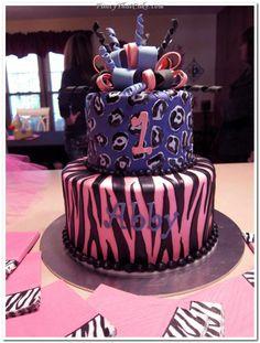 Pink And Purple Wild Animal Prints Birthday Cake cakepins.com