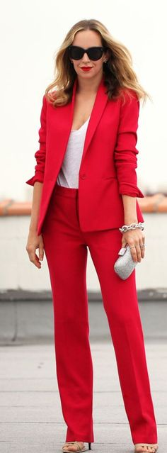 Red Suit Chic Style by Brooklyn Blonde