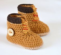 CROCHET PATTERN Boots for Baby Boys Timberland Style Baby  Boy Booties Pattern 3 Sizes Photo Tutorial Instant Download Digital File
