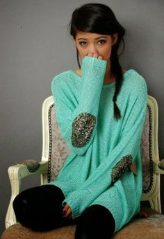 Sequin elbow patch mint sweater fashion style.