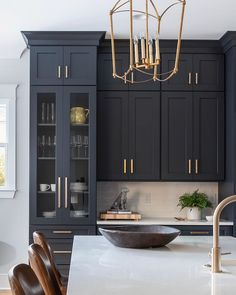These cabinets and the amazing Midnight Blue color! It's Cyberspace SW 7076 - because I know you're going to ask! Outdoor Kitchen Design, Home Decor Kitchen, Kitchen Furniture, Kitchen Interior, Küchen Design, Layout Design, House Design, Interior Design, Black Kitchens