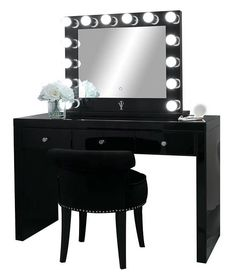 Onyx Black Glass Makeup Vanity Table 3 Spacious Drawers – House – – Brille Make-up Makeup Vanities, Glass Makeup Vanity, Glass Vanity Table, Glass Table, Vanity Tables, Vanity Room, Vanity Set, Vanity Ideas, Black Vanity Desk