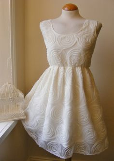 Beautiful Antique Ivory Lace Rose Tulle by jenniferlillydesigns, $45.00