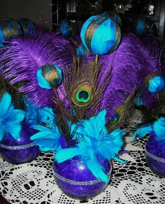 Peacock Feather Boa | Purple and Teal Peacock Themed Wedding or Special Event Centerpiece
