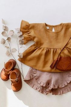 This girls outfit is so beautiful! Made by ❤ Our T-bar scallop shoes for kids complete this cute outfit Little Girl Outfits, Toddler Outfits, Kids Outfits, Cute Outfits, Baby Kind, Cute Baby Girl, Baby Girl Fashion, Kids Fashion, Toddler Fashion