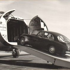 The stunning Bristol 405 on the ramp of a Bristol Freighter having just completed 100,000 miles #ThrowbackThursday #DependabilityAndPower #BristolCars #BristolAeroplanes #405